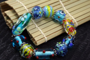 Spring Fiori Design Blue Handmade Lampwork Glass Stretch Bracelet