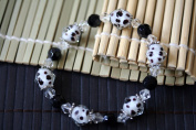 Animal Print Design Handmade Lampwork Faceted Glass Stretch Bracelet Style 6