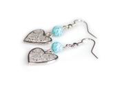 Viva Beads White Sand Earrings  Heart Pendant   - Handmade Clay Beads Jewellery 05905523