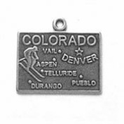 Sterling Silver Colorado State Charm with Split Ring