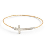 Gold Hook Closure Bracelet W/crystal Cross