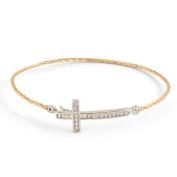 Gold Hook Closure Bracelet W/crystal Cross