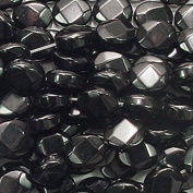 BLACK STONE 8X10MM FACETED OVAL GEMSTONE BEADS AA++