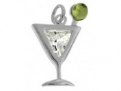 Sterling Silver and Cubic Zirconia Martini Charm