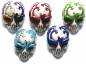 Shipwreck Beads 30 by 21mm Peruvian Hand Crafted Ceramic Skull Beads with Mask , Assorted Colour, 3 per Pack