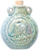 Peruvian Hand Crafted Ceramic Raku Glazed Raven Bottle Pendant, 40 by 48mm