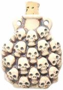 Peruvian Hand Crafted Ceramic High Fire Skulls Bottle Pendant, 49mm