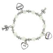 Little Girls Jesus Loves Me Charm Bracelet Sparkly Beads Heart Cross
