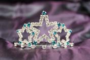 Beautiful Bridal Wedding Tiara Crown With Ocean Blue Crystal Star DH15722c