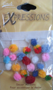 Envi Decor Accents GLASS SEED BEADS & POM POMS on RIBBON TRIM 3 FEET Long For Crafts/Sewing