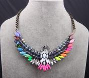 Fashion Design Colourful Resin Rhinestone Eagle Bib Pendant Necklace