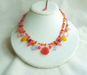 Orange Glass Two Strand Beads Necklace with Extension