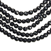 Black Onyx 4mm Round Faceted Beads Strand 15 Inch