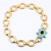 New Chunky Golden Chain Rhinestone Crystal Enamel Frog Statement Collar Necklace