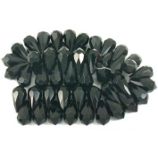 Black Faceted Teardrop Chinese Crystal Beads 20mm 1 St