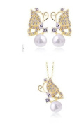 Golden Plated -925 Sterling Silver Crystal Lovely golden Butterfly Pendant Necklace and Earrings Set (Earring, Necklace Pendant) -----(With Cutely Gift Box)-----. From USA--takes 2-6 working days with shelley.kz INC