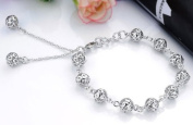 Sliver Plated-925 Sterling Silver Fashion Lovely Bling White Exquisite Hollow Ball Bracelets--(With Cutely Gift Box)-----. From USA--takes 2-6 working days with shelley.kz INC--------(1 pcs only)------