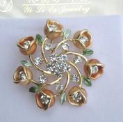 Designer Ladies Fashion Pin Brooch Ornament-Ladies Ornament Flowers Design, Gorgeous Rhinestones Design Gold Ring,Size 4.4cm x 4.4cm ,Super Saving,Special Discount,100% Satisfaction Guaranteed !