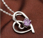 Sliver Plated-925 Sterling Silver Lovely Bling Fashion Purple Cubic Zirconia Heart Shape Pendant Necklace / Chain--(With Cutely Gift Box)-----. From USA--takes 2-6 working days with shelley.kz INC--------(1 pcs only)------