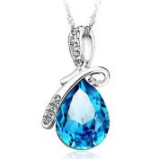 Eternal Love Pure 925 Silver Teardrop. Elements Crystal Pendant -Ocean Blue