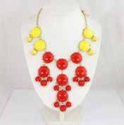 red & yellow Bubble Necklace,Handmade Bib Necklace,Statement Necklace