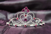 Princess Bridal Wedding Tiara Crown with Fuchsia Crystal Heart C16055