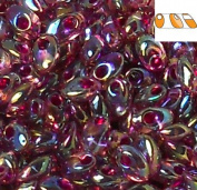 100 Grammes Smoky Amethyst Ab Fuchsia Lined 4x7mm Miyuki Long Magatama Japanese 800 Glass Fringe Seed Beads