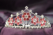 Princess Bridal Wedding Tiara Crown with Pink Crystal Flower DH15764c