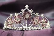 Princess Bridal Wedding Tiara Crown with Lilac Crystal Flower DH15764c