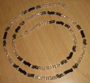 Black/Gunmetal/Silver Czech Bead Mix Eyeglass Chain