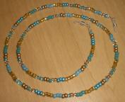Metallic Gold Turquoise Aqua Czech Bead Mix Eyeglass Chain