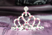 Princess Bridal Wedding Tiara Crown with Hot Pink Crystal DH14857c