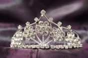 Princess Bridal Wedding Tiara Crown with White Crystal Flower DH15764c