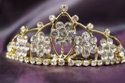Princess Gold Bridal Wedding Tiara Crown with Crystal Flower DH15764c