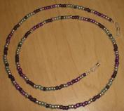 Metallic Art Deco Purple/Silver/Green Czech Bead Mix Eyeglass Chain