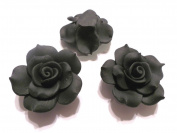 New 10 Large Fimo Flower Rose Beads 40mm Black