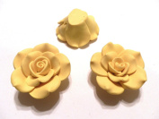 New 10 Large Fimo Flower Rose Beads 40mm Yellow