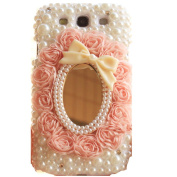 EVTECH(TM) Bling Crystal Flower Rhinestone Design Leather Lace Mirror Pearls Type Design Case Cover for Samsung Galaxy S3 I9300 T-Mobile T999 L710 Sprint/T999 T-Mobile/i747 AT & T/i535 Verizon