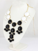 Black & white Bubble Necklace,Bib Bubble Necklace,Bib Necklace,bridal Necklace-Bubble