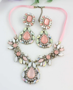 Fashion Lady Bib Statement Rainbow Gorgeous Luxury Necklace Collar with Earrings