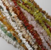 Over 1 Pound Mixed Gemstone Small to Medium Chip Beads Randum Mix 10 Strands 80cm or Longer