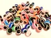 100 Evil Eye Round Acrylic Mixed Lot Assorted Colours 10mm