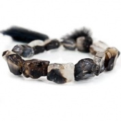 Black and Colourless Agate Beads Tumbled Hammer Faceted Rectangle and Square