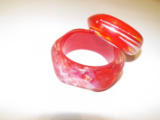 Christmas Holiday Stocking Stuffer Gift Girl Set of Two Red, White and Yellow Bangle with a Red Iradescent Bangle for All Teens & Adults