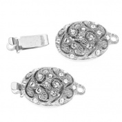 Rhodium Plated Oval Box Clasp With Vine Design And. ELEMENTS 20x11mm