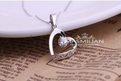 Sliver Plated-925 Sterling Silver Lovely Bling White Cubic Zirconia Heart Shape With Love Pendant Necklace / Chain--(With Cutely Gift Wrap)----Awesome gift for Holidays-. From USA--takes 2-6 working days with shelley.kz INC--------(1 pcs ..
