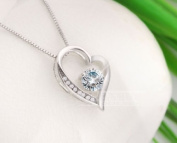 Sliver Plated-925 Sterling Silver Lovely Bling White Cubic Zirconia Heart Shape Pendant Necklace / Chain--(With Cutely Gift Box)-----. From USA--takes 2-6 working days with shelley.kz INC--------(1 pcs only)------