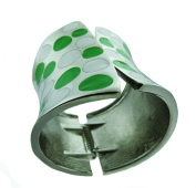 Metallic Wide Cuff Green & White Polkadot Fashion Bangle Bracelet
