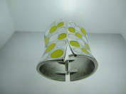Metallic Wide Cuff Yellow & White Polkadot Fashion Bangle Bracelet