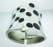 Metallic Wide Cuff Black & White Polkadot Fashion Bangle Bracelet